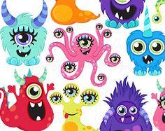 Instant Download Monster Clip Art Digital Little by CorolladArt