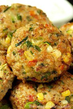 Chicken, Zucchini & Fresh Corn Burgers w/ Green Onion & Cumin