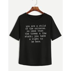 Black Letters Print T-shirt ($17) ❤ liked on Polyvore featuring tops, t-shirts, cotton blend t shirt, print t shirts, stretch t shirt, print tees and short sleeve t shirts