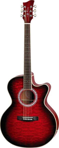 Jay Turser JTA-424QCET-RSB Red Sunburst Acoustic Electric Guitar