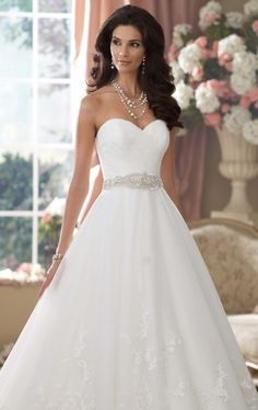 Embellished Sweetheart Tulle and Lace Gown by David Tutera