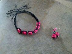 Black Hemp and Neon Pink Howlite Skull by CreativeEarthJeweler