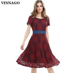 Womens Lace Midi Dress Party Prom Cocktail Bridesmaid Formal Knee Length A Line Swing Dress For Wedding With Sleeves - Vinfemass Lace Overlay Dress, Floral Lace Dress, Lace Dress With Sleeves, Lace Midi Dress, Skater Dress, Lace Ball Gowns, Lace Party Dresses, Lace Bridesmaid Dresses, Dress Party