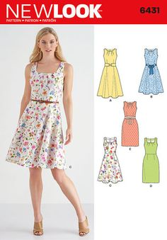 Pattern 6431 Misses' Dresses with Skirt and Neckline Variations