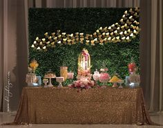 Garden theme candy buffet, boxwood backdrop, butterflies. Floral by Stephanie Do @ LaBelle Fleur Designs