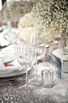 winter wedding centerpiece silver sequin glitter table cloth http://www.mirrormirrorincbridal.com/# #TheWeddingConsultant
