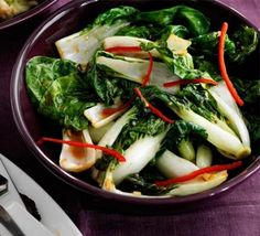 Bok choi with oyster sauce & chilli | BBC Good Food
