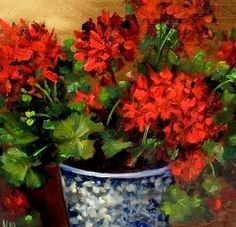 Artists Of Texas Contemporary Paintings and Art: Garden Geraniums by Nancy Medina