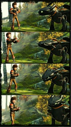 Hiccup and Toothless. If these two get any cuter...  <----  Hiccups face the second picture,  LOL!!!