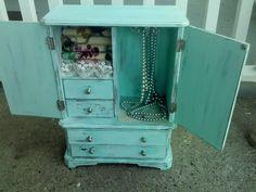 Upcycled jewelry box key west teal shabby distressed vintage #handmade for sale on EBAY seller annrichardson10