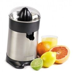 Collect juice in the removable container or pour directly into glass. Automatic start and stop. Removable parts are dishwasher safe for easy cleanup. Stainless steel filter and spout four suction cups stabilize juicer. Dust cover built in cord wrap.