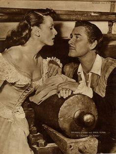 "Maureen O'Hara & Errol Flynn, ""Against All Flags"", Old Hollywood Movies, Golden Age Of Hollywood, Vintage Hollywood, Hollywood Stars, Classic Hollywood, Hollywood Pictures, Maureen O'hara, Big Kiss, Errol Flynn"