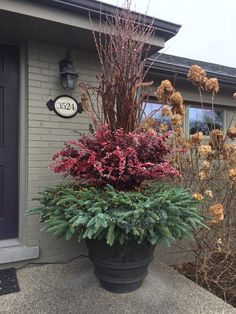 While once restricted to the porch or patio, planters have extended their reach. The popularity of container landscaping is growing as people realize the flexibility this attractive design can provide. If you are looking to revamp your yard, exploring. Winter Container Gardening, Container Plants, Outdoor Christmas Planters, Winter Window Boxes, Winter Planter, Tall Plants, Cool Landscapes, Garden Beds, Christmas Decorations