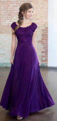 759f7dbcbc Modest Beaded Bodice Plum Dress - Size 10 Wedding Color Schemes