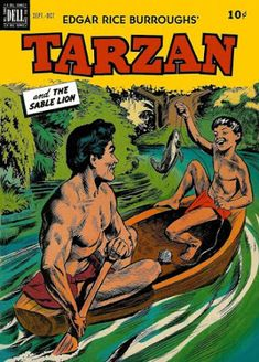 cover art by Morris Gollub Dell Comics' Tarzan (Sept-Oct lifts ideas from one of the original Tarzan novels and from the leg. Warrior Names, Children's Comics, Tarzan And Jane, Nostalgia, Old Time Radio, Adventure Movies, Classic Comics, Comic Covers, Book Covers