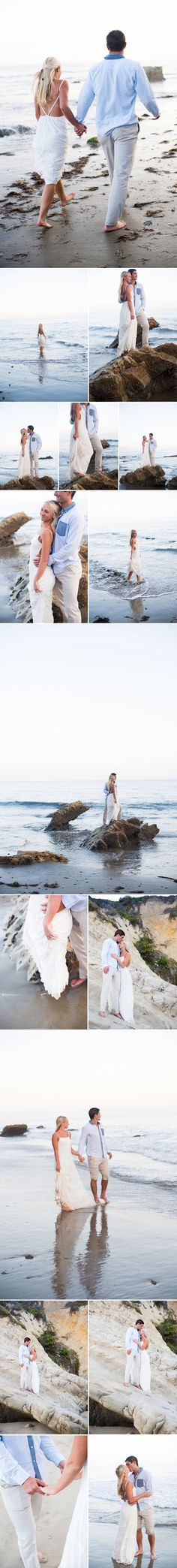 A sunset Northern California beach rehearsal dinner photo session on the cliffs and by the ocean with mossy rocks and bare feet the night before they got married with beach engagement session inspiration, What to wear to your beach engagement shoot, barefoot and white dress, holding bride in ocean, how to pose couples for beach session