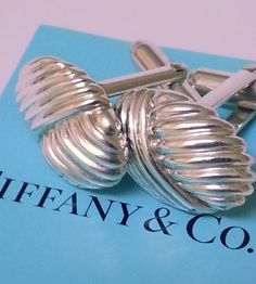 TIFFANY+AND+CO.++CUFF+LINKS+~++STERLING+SILVER+~+NAUTICAL+COLLECTION+SEA+SHELLS~+RARE+~+BEAUTIFUL+~