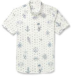 ALEXANDER MCQUEEN Slim-Fit Button-Down Collar Printed Cotton Shirt. #alexandermcqueen #cloth #casual shirts