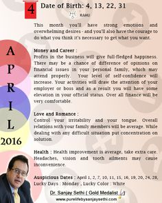 #Numerology #monthly  predictions for April'16 by Dr.Sanjay Sethi-Gold Medalist and World's No.1 #AstroNumerologist.