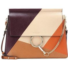 Chloé Faye Snakeskin and Leather Shoulder Bag (161.950 RUB) ❤ liked on Polyvore featuring bags, handbags, shoulder bags, multicoloured, genuine leather purse, leather handbags, real leather handbags, leather purses and beige purse