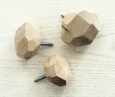 DIY Faceted Wooden Wall Hooks