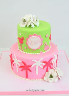 Lilly Pulitzer Baby Shower Cake - Lilly Pulitzer inspired.  Loved the flamingos.