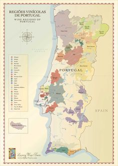 A beautifully illustrated map showing all of the major Portuguese Wine Regions