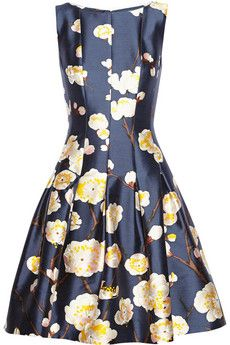 Oscar de la Renta Floral-print silk and wool-blend satin dress   NET-A-PORTER