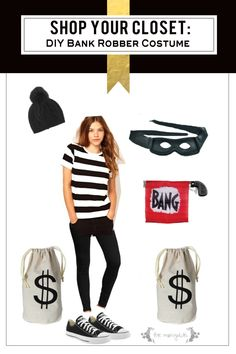 banking robber costume Shop your own closet for free and fabulous costumes this Halloween! Love this bank robber costume idea. Bank Robber Costume, Robber Halloween Costume, Costume Dress, Striped Tee, Dress Up, Tees, Cute, Closet, Shopping