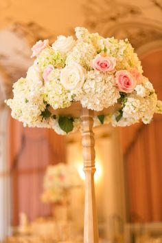 Tall floral centerpiece {Photo by Joel Bedford Photography via Project Wedding}