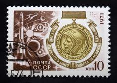 Yuri Gagarin stamp for Cosmonaut day 1971