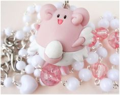 Pokemon Blissey Necklace, White and Pink Rosary Chain in Silver - Anime Jewelry