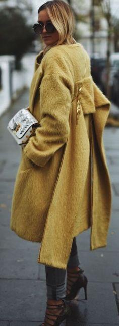 Nina Suess Mustard Fuzzy Coat Fall Street Style Inspo #nina