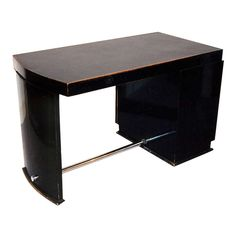 Ebonised and Chrome Art Deco Desk with Original Black Inset Leather Top   From a unique collection of antique and modern desks and writing tables at https://www.1stdibs.com/furniture/tables/desks-writing-tables/