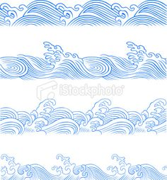 seamless ocean wave Royalty Free Stock Vector Art Illustration