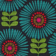 cx6688 fringe flowers hashmark florals blooms petals leaves marine teal turquoise textured
