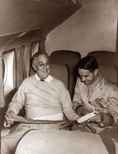 A happy FDR flying to the Casablanca Conference. Considering he hated flying it's great he has a smile on his face!