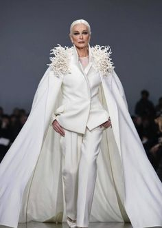 Carmen dell'Orefice (81) iconic model Stephane Rolland Hauture