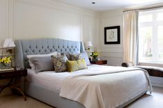 Nailhead trim headboard bedroom traditional with window bnech empire style…