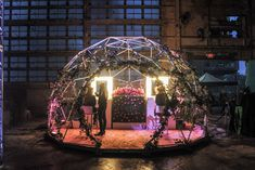 Sponsor Lancôme Canada offered makeup applications in a flower-filled dome.