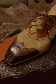 Suede leather brogue shoe.