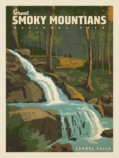 Anderson Design Group – American National Parks – Great Smoky Mountains National Park: Laurel Falls