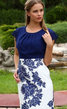 b582207dd7a22a Lizabella style 2422, Royal Blue & Ivory Print Dress with Chiffon bodice &  cap sleeves