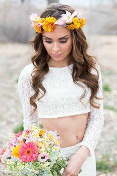Fresh Wedding Details... Bold bride in a crop top maxi dress & smokey makeup via Alicia Lucia Phogoraphy on The Dreamery Events