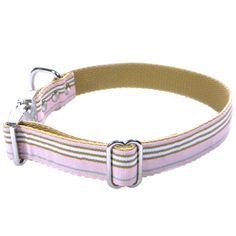 DOG COLLAR - CLASSIC STRIPES PINK BROWN WHITE (RIBBON 10mm)