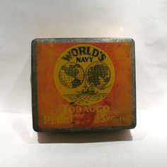World's Navy Tobacco Tin - Rock City Tobacco Co-Quebec City, Canada - Tobacco Advertising Tin - Antique Tobacco Tin - Tobacciana -