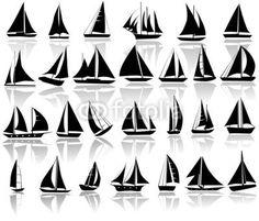 "Amazon.de: Leinwand-Bild 120 x 100 cm: ""A set of vector silhouettes of yachts"", Bild auf Leinwand"