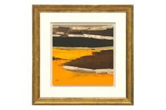 #Abstract oil painting in brown, orange & taupe by Frederique Marteau in #antique gilt wood frame  France, contemporary