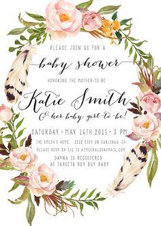 Boho Girl Baby Shower Invitation $16 kreynadesigns.etsy.com