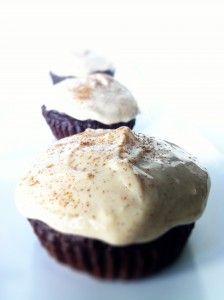 Dark Chocolate Cupcakes with Greek Yogurt Cream cheese frosting~•½ Cup Reduced Fat Cream Cheese   •½ Cup Non-Fat Plain Greek Yogurt   •1 Tbsp Vanilla   •4 Tbsp Honey   •½ Tbsp Cinnamon